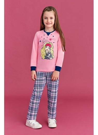 Barbie Barbie Lisanslı Kız Çocuk Pijama Takımı Açık Pembe Gri